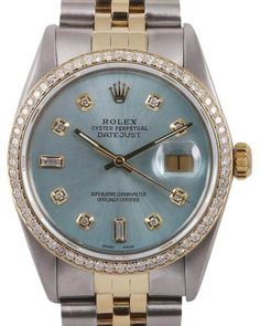 Rolex Datejust Stainless Steel & 18K Yellow Gold Ice Blue Dial wDiamonds Automatic 36mm Mens Watch
