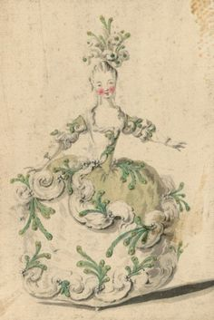 This could be a costume for a comedy in a Salon. Drawings and sketches of costumes for the opera in Paris and Versailles from 1739 to 1767 Louis-Rene Boquet. Marie Antoinette, Art Et Illustration, Illustrations, Louis Xvi, Doodle, Guache, Fashion Plates, Rococo, Versailles