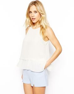 ASOS Cami with High Neck and Pleated Peplum