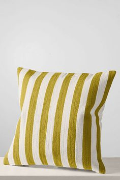 "18"" x 18"" Embroidered Stripe Decorative Pillow Cover or Insert from Lands' End"