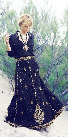 Rapsodia embellished skirt and top - Turkey and India-inspired embroidery