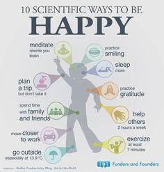 10 scientific ways to be happy [Health & Fitness Infographics]