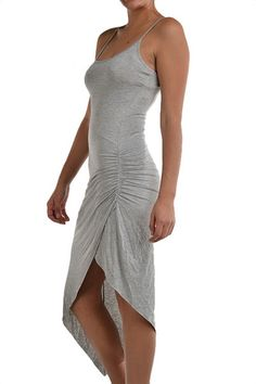 Surf Break Asymmetrical Dress - Grey     I would love this in black or red!  The ruching and side slit are sexy!