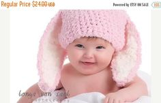 3 to 6m Baby Pink Easter Bunny Hat, Infant Bunny Ears, Easter Baby Girl Bunny Beanie, Easter Baby Hat, Pink White Easter Photo Prop #baby #children #kids #kidsfashion #girlhat #boyhat #babyboy #babygirl #easter #bunny #bunnyhat #babyhat #hat #babamoon #etsy #photoprop #bunnycostume #eastercostume #etsygifts #accessories #babies #pink
