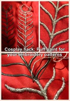 Cosplay hack - Use puff paint to prepare pattern for handmade embroidery