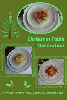 A UNIQUE  decoration of your Festive Table: Small handmade guest gifts - very beautifully packed boxes over the plates. Each box contains a luxury handmade glycerin scented soap, organza cloth, ribbons matching the soap's color and a small decorative!