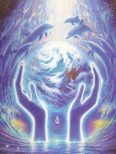 World Healers Poster :: Nature :: Malcolm Horton Portfolio & Poster Print Store Dolphin Photos, Dolphin Art, Art Visionnaire, Dolphins Tattoo, Spirited Art, Visionary Art, Science Nature, Fantasy Art, Poster Prints