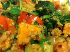 DINNER:  quinoa stir-fry (red pepper, onions, sweet potatoes, zucchini, spinach). YUM!!!!!