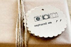 """10 Vintage Camera Hand-Stamped Kraft Paper Tags with """"Captured On"""" Detail. £3.00, via Etsy."""