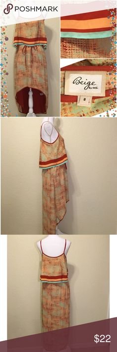 """NWOT ECI Mint Green & Orange HighLow Crop Top Maxi New.  Summery mint green, popsicle & burnt orange high-low dress.  From Beige by ECI.  Crop top.  Elastic waist.  Adjustable straps.  Lined.  Size 8.  Bust: 36"""". Waist: unstretched 28"""", stretched 36"""".  Dress length:  shortest 34"""", longest: 54"""".  95% polyester, 5% spandex. ECI Dresses High Low"""