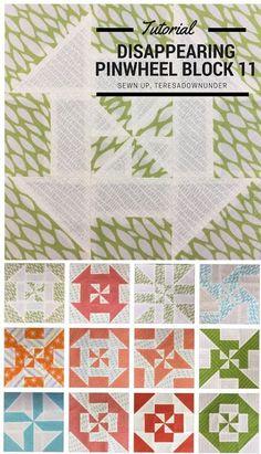 Block 11: Disappearing pinwheel quilt sampler