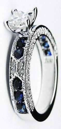 Blue sapphires and diamonds