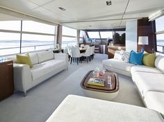 Spectacular entertaining space on board the 75 Motor Yacht #craftedinplymouth #style #interior #yacht