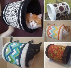 Check out these gorgeous cat tunnels,all handmade with beautiful designer fabrics and plush faux fur liners. The exquisite quality makes them look more like fine furniture than a cat hideaway! Each tunnel measures 12″ in diameter and 16″ long. They hang from the wall with two sturdy straps and metal wall hooks. According to the...Read More #catsdiyclimbing Feral Cats, Pet Cats, Cats And Kittens, Cat Wall Shelves, Cat Tunnel, Fine Furniture, Cat Furniture, Cat Cages, Cat Room