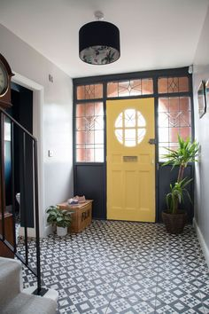 Yellow Hallway, Bright Hallway, Black Hallway, Hallway Rug, Hallway Designs, Hallway Ideas, Valspar Colors, Attic Spaces, Attic Rooms