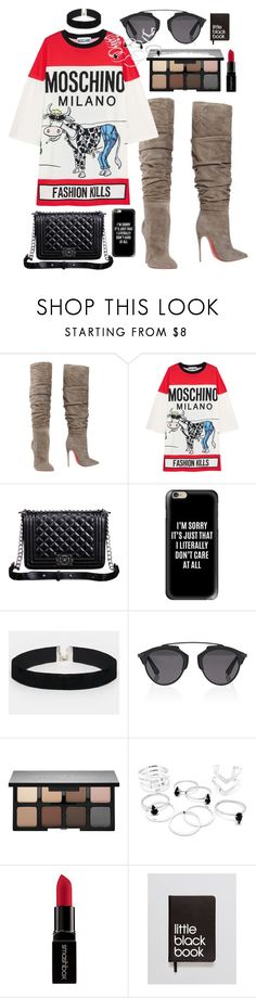 """""""Date Night"""" by imaniasaboor ❤ liked on Polyvore featuring Christian Louboutin, Moschino, Relaxfeel, Casetify, ASOS, Christian Dior, Smashbox and Dinks"""