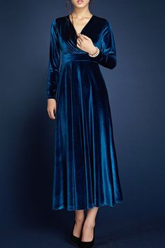 Borme Deep Blue Velour Wrap Dress | Midi Dresses at DEZZAL