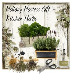 """Hostess Gift -  Kitchen Herb Garden"" by homespunjoy on Polyvore featuring interior, interiors, interior design, home, home decor, interior decorating, Garden Trading, kitchen, holidays and hostessgifts"