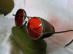 Vintage STEAMPUNK welding glasses with red tinted lens & mess side shields