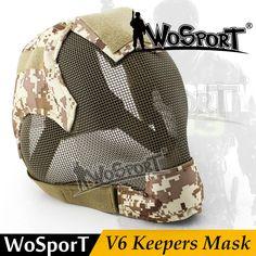 Wosportミリタリーエアガンペイントボールマスク戦術スチールメッシュフルフェイスv6マスク用陸軍屋外ペイントボールアクセサリー