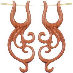 Hand Carved Rose Wood Wild Tribal Stirrup Hanger Earring Set $17.99 #earrings #hanger #plugs #wood #organic #beauty #love #bodycandy