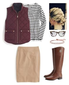 """""""Work hours"""" by lizardbeth95 ❤ liked on Polyvore featuring J.Crew, Tory Burch and CARAT* London"""