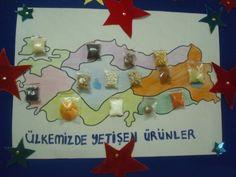 Türkiye Haritası Üzerinde, Ülkemizde Yetişen Ürünler