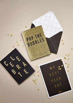 Let's celebrate with these gorgeous glitter Greeting Cards