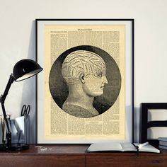 Phrenology Science Vintage Human Head Brain Printable Collage Old Newspaper Wall Art Print Vintage Newspaper, Newspaper Paper, North America Map, Printable Designs, Printable Crafts, West Art, Human Head, Dictionary Art, As You Like