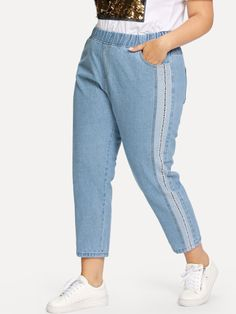Shop Plus Elastic Waist Striped Jeans at ROMWE, discover more fashion styles online. Forever 21 Girls, Jeans Price, Striped Jeans, Plus Size Jeans, My Wardrobe, Romwe, Elastic Waist, Mom Jeans, Thighs