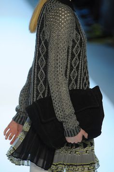 Inspiration - Charlotte RonsonF/W 2102 ... mix of open lacy stitches with aran....could be solid or two colour as shown