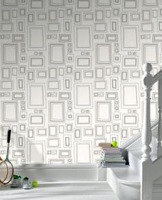 Graham & Brown Label Frames x Geometric Wallpaper Roll