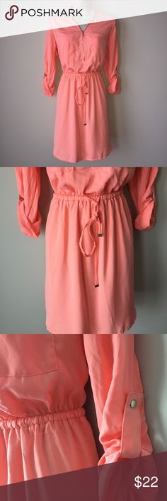 Dynamite peach shirt dress with tie belt REPOSH - beautiful item, not the right fit for me unfortunately. This dress is a peach color and has an adjustable tie belt. Dresses Midi