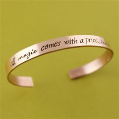 Once Upon A Time Cuff Bracelet - All Magic Comes With A Price, Dearie - Rumplestiltskin