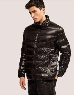 black Love Moschino Large Tab Puffa Jacket