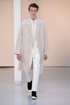 16. Suit coat in water-repellent wool-cotton, four-pocket blouson in heavy cotton poplin, straight denim pants in cotton denim, high cut sneakers in cotton denim #lemaire