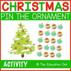 Christmas Pin the Ornament on the Tree Christmas Printable Activities, The Donkey, Spin, Bandana, Tape, Student, Ornaments, Eyes, Bandanas