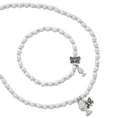 7c608a6e0 First Communion White Pearl Bead Necklace and Bracelet Set with Chalice and  Butterfly Charm