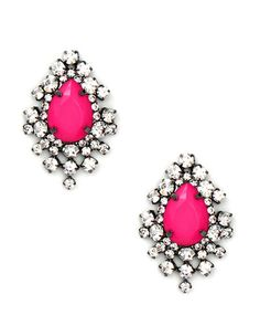 Neon Crystal Earrings in Pink + Sparkle