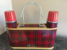 Vintage Metal Lunch Box with 2 Thermos's Car Snac | eBay