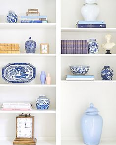 The key to a good is the appropriate amount of stuff versus negative space. I always love to use books and porcelain but also layer in some frames and conversation pieces as well. You want it to look unique and carry your story without it feeling Living Room Inspiration, Home Decor Inspiration, Design Inspiration, Design Ideas, Small Living Rooms, Living Room Designs, Caitlin Wilson Design, Transitional Home Decor, Welcome To My House