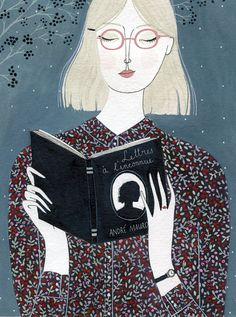 "linconnue (print) by yelena bryksenkova. ""we marry the woman and buy the books with which we want to live"" - andré maurois"