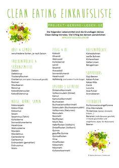 GESUNDE CLEAN EATING EINKAUFSLISTE - Mit PDF-Download zum Ausdrucken!
