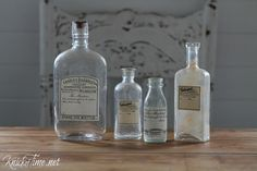 Vintage Apothecary Label Bottles  for bath off mudroom
