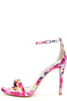 Steve Madden Stecy Floral Print Ankle Strap Heels at LuLus.com! I've got to have these!