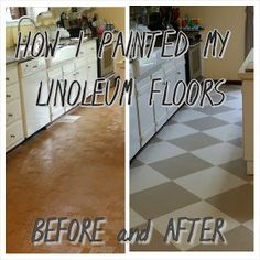 The Virtuous Wife: How I Painted my Linoleum Floors - Wohnwagen Painted Kitchen Floors, Painted Vinyl Floors, Vinyl Flooring Kitchen, Painting Linoleum Floors, Linoleum Flooring, Plywood Floors, Painting Concrete, Laminate Flooring, Home Renovation