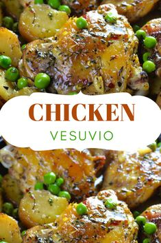 This Chicken Vesuvio Recipe is a delicious, restaurant style dinner for the whole family! A one-pot chicken recipe that's perfect for a busy weeknight! Dinner Entrees, Dinner Dishes, Main Dishes, Party Entrees, Diner Recipes, Lunch Recipes, Healthy Recipes, Healthy Dinner Recipes, Dark Meat Chicken Recipe