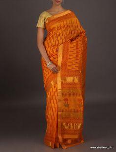 Jayanthi Standing Leaves Motif #Jaipur #Bagru #PrintSaree