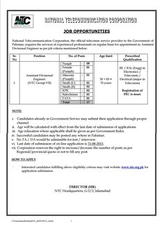 NTC Pakistan Jobs 2015 Assistant Divisional Engineer NTS Form August Advertisement