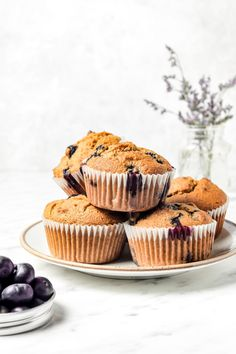 These fully, moist, and tender almond flour blueberry muffins are grain free, gluten free, dairy free, and make a great healthy snack!